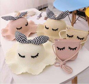 2021 Summer trendy baby sun hat straw woven bag set