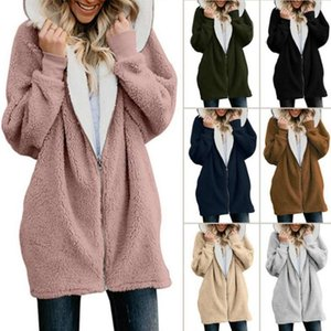 Women Zipper Cardigan Hooded Jacket Winter Fashion Casual Plush Sweater Long Sleeves Warm Overcoat Top Outwear Coat Hoodie LJJW-F18