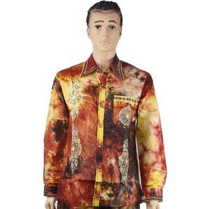 2021Africano homens camisa bazin riche bordado painiki roupas tradicionais cópias coloridas tops Hippie homem vestuário manga comprida camisas