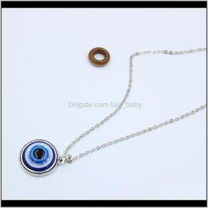 Necklaces Turkish Symbol Evil Blue Eyes Resin Bead Pendant Necklace Women Men Nazar Turkey Arabic Islamic Lucky Charm Gift S205 2Rly 3Qa9T