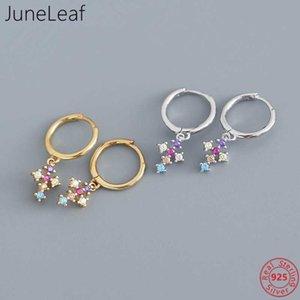 JuneLeaf Luxury Real 925 Sterling Silver Multicolor Zircon Cross Pendant Stud Earrings For Women Bohemian Wedding Party Jewelry