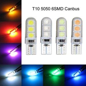 50PCS T10 W5W 194 168 2825 5050 6SMD 실리콘 LED CANBUS 오류 클리어런스 램프에 대 한 무료 자동차 전구 번호판 조명 12V