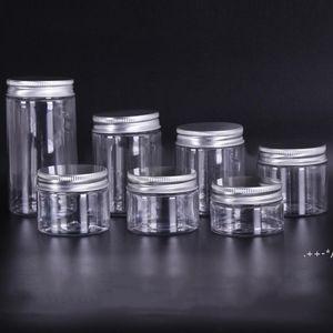 30ml 40ml 50ml 60ml 80ml Plastic Jars Transparent PET Plastic Storage Cans Boxes Round Bottle with Plastic Aluminum Lids FWF6049