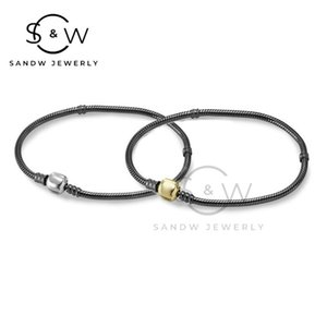 S925 sterling silver leather rope bracelet pan original couple simple gift retro personality charms for jewelry making