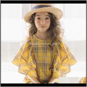 Shirts Spring Plaid Arrival Kids Cute Bell Sleeve Shirt For Teen Cotton Baby Girls Fashion 8547 Y200704 Jjhjp Khl41