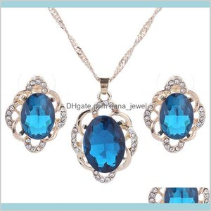 Necklace Sets Bridal Crystal Pendants Necklaces Earrings Engagement Wedding Party Jewelry Set Drop Delivery 2021 C28L6