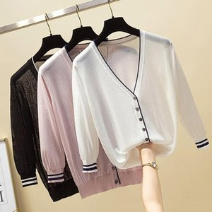 Summer Korean Fashion Simple Bracelet Sleeve Loose White V Neck Thin Women Knitted Sweater Cardigan Tee Tshirts Tops Women's T-Shirt