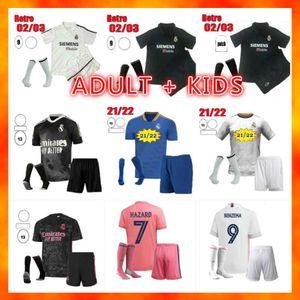 Kit pour enfants adultes 2021 2022 Real Madrid Soccer Jersey Uniformes 20 21 22 Sergio Ramos Hazard Benzema Modric Camiseta de futbol et maillot de footty + chaussettes