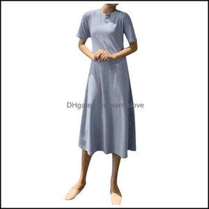 Er-Ups Swimming Equipment Sports & Outdoorser-Ups Sagace Summer Dress Women O-Neck Short Sleeve Solid Beach Dresses And Tunics Casual A-Line
