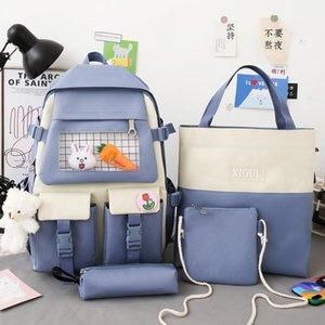 School Bags Backpack For Teenage Girl 2021 4 Piece Set Fashion Bear Canvas Travel Women Bookbags Casual Student Bag Big
