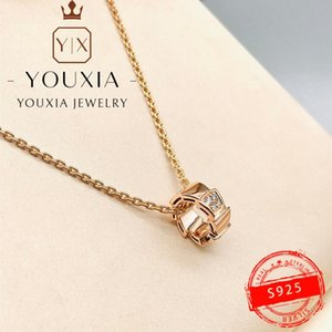 Chains 1:1 Custom 925 Sterling Silver Rose Gold Red White Luxury Fashion Snake Bone Diamond Necklace