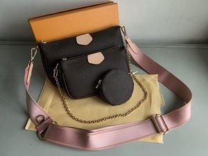 새로운 여성 즐겨 찾기 정품 가죽 패션 핸드백 멀티 Pochette Accessoires 지갑 꽃 미니 Pochette 3pcs 크로스 바디 가방 어깨 가방