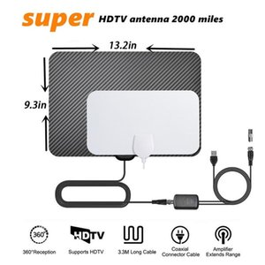 TY45 Indoor Digital TV Antennas Carbon Fiber 4K 1080P HD ATSC Digitasl Antenna with Switch Amplifier Booster Aerial 50-80 miles