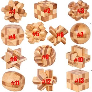 Novos Bambu Kids Brinquedo Educacional Kongming Luban Lock Blocks Bola Quadrado Tetrahedron Jupiter Tic-Tac-Toe Gaiola Barrel Barril Fechaduras EWF7180