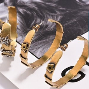 2020 letter big ear ring female baby's same style zircon earrings fashion exaggerated simple ins earrings