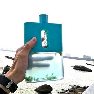BPA FREE Travel Plastic Flat Water Bottle 500ml A6 A5 Paper Water Bottle Outdoor Flat Bottle Portable Pad Drink Bottles Flask 210409