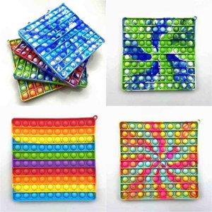 Dito da tavolo Giocattolo Mega Rainbow Bubble Poppers Board Sensoriale Sensoriale Fidget Push Pop Grande Quadrato Popper Puzzle Bambini Giocattoli educativi G550B5R