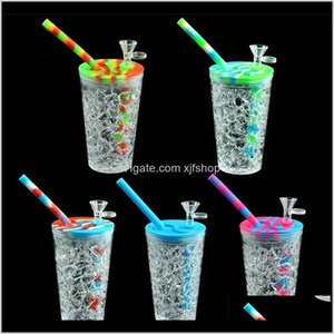 5 Color St Drink Cup Bottle Shape Sile Hookah Smoking Shisha Bong Bowl Dab Rig Glass Oil Rigs Herb Bubbler Water Bervr 8Nvhx