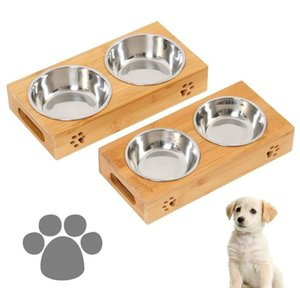 Feeders Dog Food Large Feeding Station Stainless Pet Double Bowls Stand Cat Wooden Bowl Vmfvb Slvov