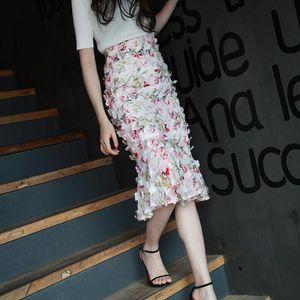 Fashion Elegant Knee Length Flowers Women Summer Skirts Pencil S-2XL High Waist Quality Chiffon