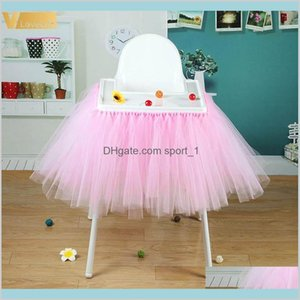 Table Skirt Cloths Home Textiles & Garden High Baby Shower Tutu Tulle Skirts 100X35Cm Birthday Textile For Skirting Chair Party Suppli