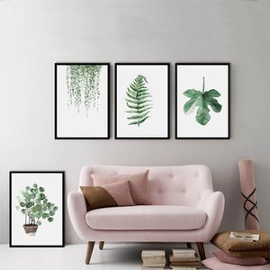 Hotel Sofa Wall Decoration Draw Green Plant Digital Painting Modern Decorated Picture Framed Painting Fashion Art Painted BC BH1496-1