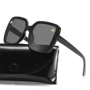 Aviador Óculos de Sol 2021 Marca Oversized Óculos de Sol Mulheres Luxo Gradiente Sol Óculos Grandes Moldura Vintage Óculos UV400 Little Bee