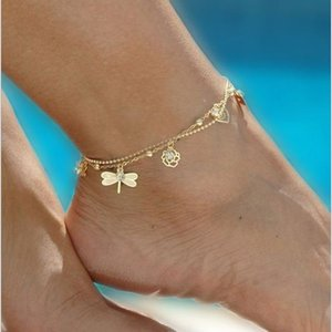 IBVXCheap Barefoot Sandals For Wedding Shoes Sandel Anklet Chain Hottest Stretch Gold Toe Ring Beading Wedding Bridal Bridesmaid Jewelry Foot