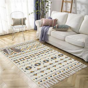 Boho Design Non-slip Floor Mat Doormat Area Rugs for Bedroom Bathroom Cotton Linen Morocco Carpets