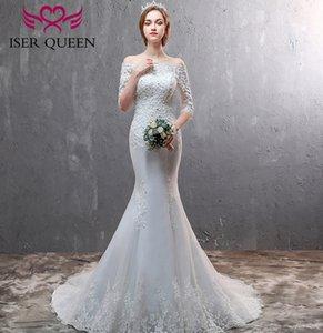 Off Boat Shoulder Neck Edge Mermaid Gown Half Mouwen with Crystal Kralen Vintage Wedding Gowns Wd8016