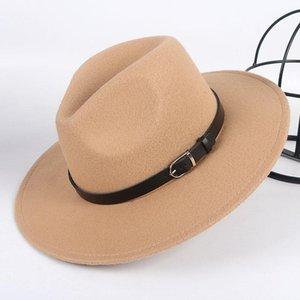 Breite Krempe Fedora Hut Frauen Männer Chapeau Femme 2020 Herbst Winter Frau Fedoras Männer Jazz Männlich Vintage Wolle Filz Hut mit Gürtel