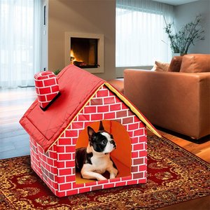 Pet Dog Bed Foldable Dog House Small House Pet Bed Tent Cat Kennel Indoor Portable Trave Cushion Mat Sofa Washable Puppy Plush 1232 V2