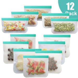 12Pcs Set Silicone Bag PEVA Silicone Food Storage Bag Containers Leakproof Reusable Shut Bag Fresh Food