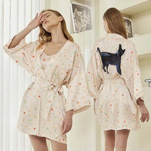 Black Little Meow ~ Summer Thin Xury Satin Hanging Smooth Skating Island Silk Women's Short Sleeve Bathrobe Nightgown Home Cloth