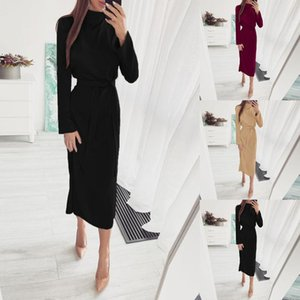 Casual Dresses Womail Long Sleeve OL Women Button Knitted O-Neck Skinny Autumn Sexy Cotton Sash Design Party Dress