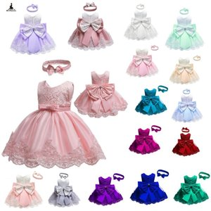 Baby Bow Tutu Lace Princess Dress Baby Girl Sleeveless Evening Tutu Dresses Baby First Birthday Gift Formal Wedding Party Wear Clothes