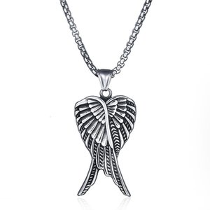 Japanese and Korean Fashion Men's Titanium Necklace Stainless Steel Angel Wing Creative Pendant