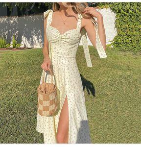 PropCM цветочный принт без рукавов ремешок MIDI платья вечеринка клуб сексуальные спинки элегантные сплит платье женщин Vestidos