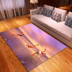 Carpets Pink Flamingo Print Carpet Floor Mat Bedroom Bedside Rectangle Cartoon Animals Area Rugs Kids Playing Mats Decor