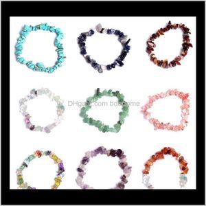 Beaded, Strands Bracelets Jewelry Drop Delivery 2021 Healing Crystal Sodalite Chip 18Cm Stretch Natural Mixed Gemstone Chakra Fashion Bracele