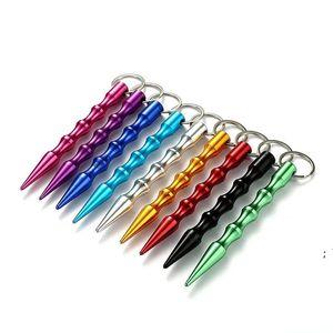 Party Favor Aluminum Self Defense Keychain Mental Stick Cars Keychains Personal Safty Key Chain Charm Car Keyring OWB6321