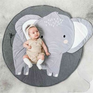 Children's Mat Baby Play Mat Carpet Creative Dlephant Cat Round Cotton Animal Playmat Newborn Crawling Blanket Baby Floor Mat 210401