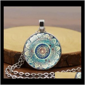 Vintage Dome Necklace Buddhism Chakra Glass Cabochon Pendant Jewelry Om India Yoga Mandala Necklaces For Unisex Dyqgn Tiwr9