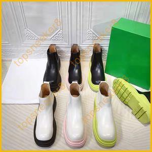 Women Martin Boots Bott Ankle Designer Boot 5cm Heel Black With White Pink Green