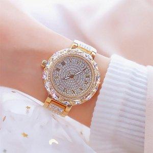 Armbanduhren weibliche dame uhr top armband frauen 2021 diamand elegante bling hand wacht rose gelb gold uhr geschenk