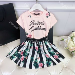 Designers Clothes Kids sets dresses girls boutique clothing cotton summer short sleeve two-piece set children clothese with high-end gift box 3