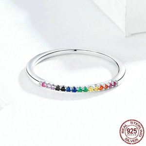 Colorful Zircon 925 Sterling Silver Rings Single Stackable Finger Ring For Women Girls Fine Jewelry 2933 Q2