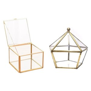 Glass Ring Box Wedding Jewelry Case Immortal Flower Cover & Square Opening Geometry Garden Boxs Mirror Jewel Pouches, Bags