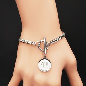 Punk Letter U Shell Stainless Steel Bracelet Women Silver Color Bangles Jewelry Pulsera Acero Inoxidable Mujer B18411S05 Link, Chain