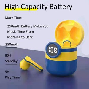 HIFI Minions TWS 무선 이어폰 블루투스 5.0 P23 모바일 헤드폰 이어폰 절반 침입 케이스가있는